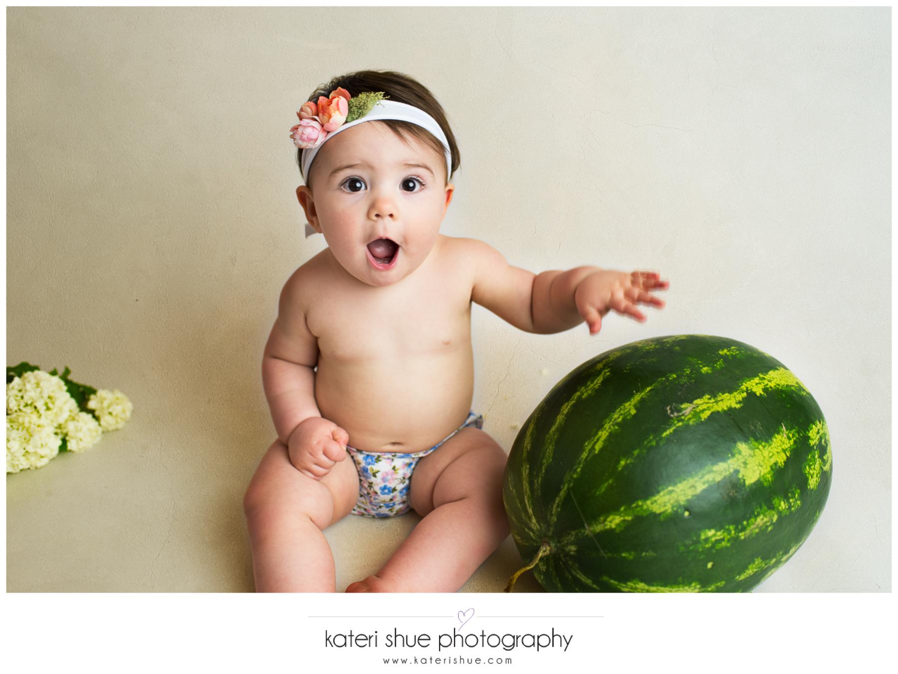 lillian, metro detroit, motherhood photographer, one year, milestone, flowers, watermelon smash, unique, michigan